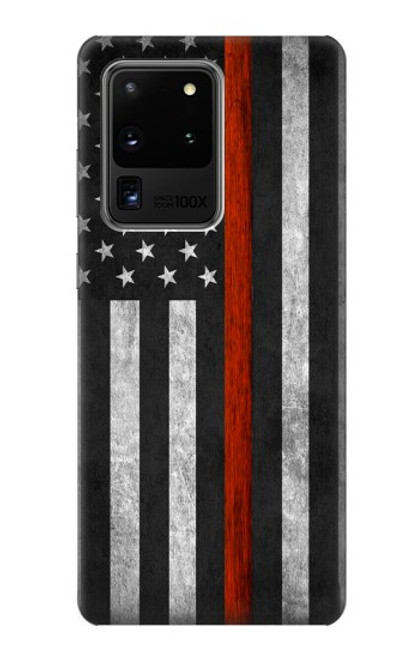 S3472 Firefighter Thin Red Line Flag Case For Samsung Galaxy S20 Ultra