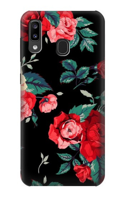 S3112 Rose Floral Pattern Black Case For Samsung Galaxy A20, Galaxy A30