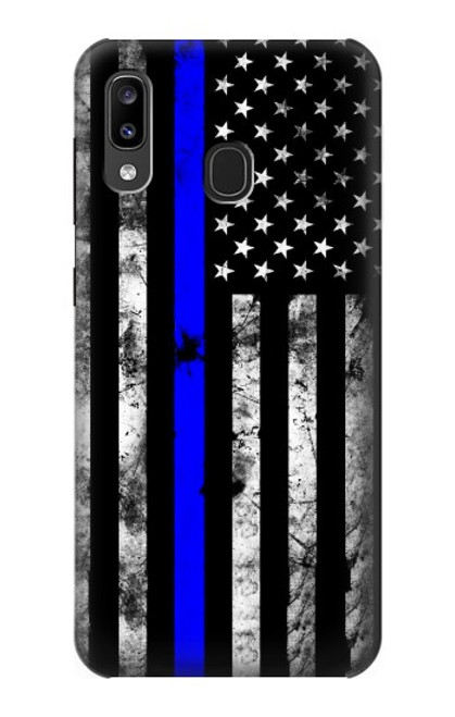 S3244 Thin Blue Line USA Case For Samsung Galaxy A20, Galaxy A30
