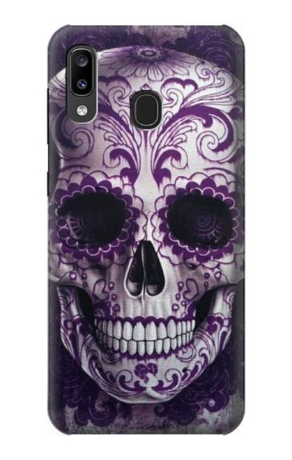 S3582 Purple Sugar Skull Case For Samsung Galaxy A20, Galaxy A30