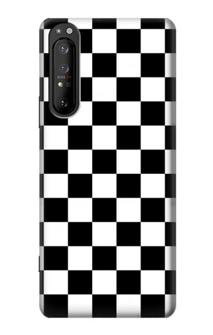 S1611 Black and White Check Chess Board Case For Sony Xperia 1 II