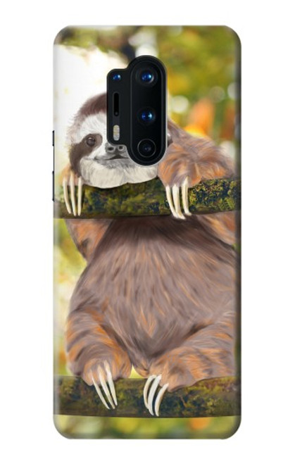 S3138 Cute Baby Sloth Paint Case For OnePlus 8 Pro