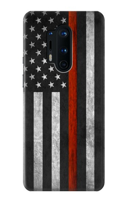S3472 Firefighter Thin Red Line Flag Case For OnePlus 8 Pro