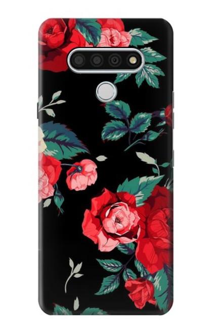 S3112 Rose Floral Pattern Black Case For LG Stylo 6