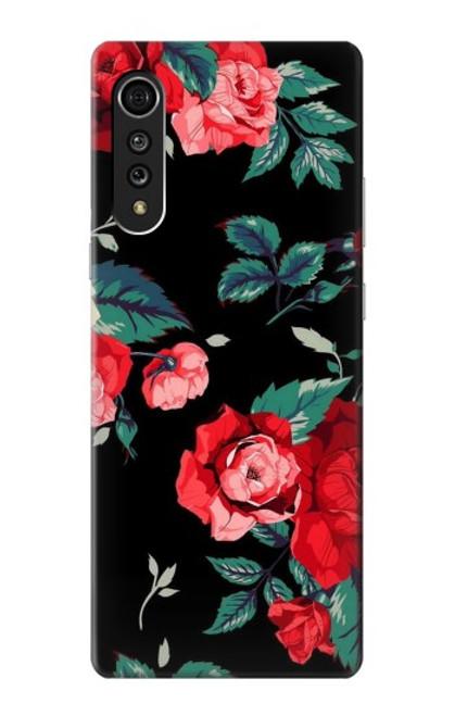 S3112 Rose Floral Pattern Black Case For LG Velvet