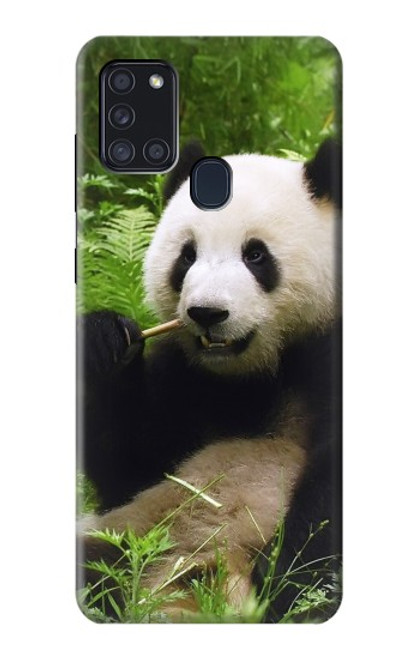 S1073 Panda Enjoy Eating Case For Samsung Galaxy A21s