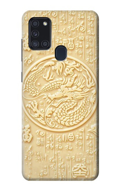 S3288 White Jade Dragon Graphic Painted Case For Samsung Galaxy A21s