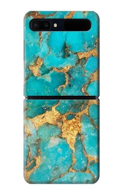 S2906 Aqua Turquoise Stone Case For Samsung Galaxy Z Flip 5G