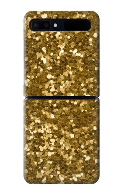 S3388 Gold Glitter Graphic Print Case For Samsung Galaxy Z Flip 5G