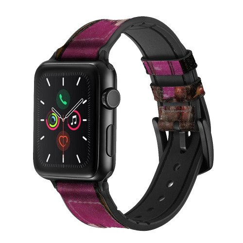 CA0121 Red Wine Leather & Silicone Smart Watch Band Strap For Apple Watch iWatch