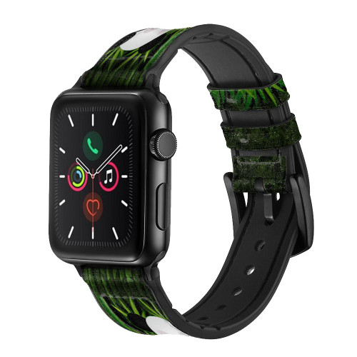 CA0320 Panda Family Bamboo Forest Leather & Silicone Smart Watch Band Strap For Apple Watch iWatch