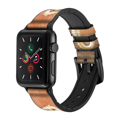 CA0399 Seahorse Skeleton Fossil Leather & Silicone Smart Watch Band Strap For Apple Watch iWatch