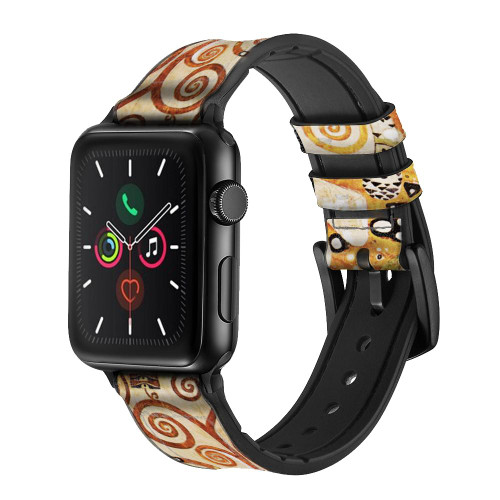 CA0420 The Tree of Life Gustav Klimt Leather & Silicone Smart Watch Band Strap For Apple Watch iWatch