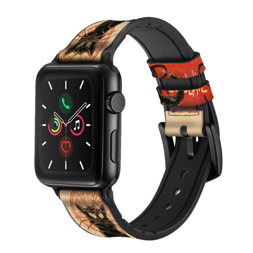 CA0422 Chat Noir Black Cat Vintage Leather & Silicone Smart Watch Band Strap For Apple Watch iWatch