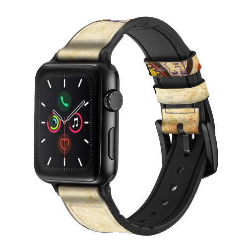 CA0459 Poker Card Queen Hearts Leather & Silicone Smart Watch Band Strap For Apple Watch iWatch