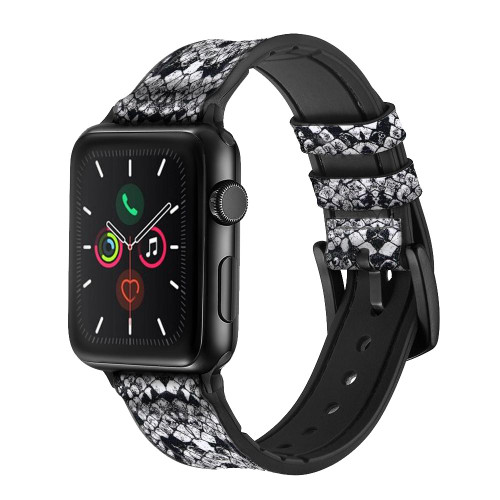 CA0471 White Rattle Snake Skin Graphic Printed Leather & Silicone Smart Watch Band Strap For Apple Watch iWatch