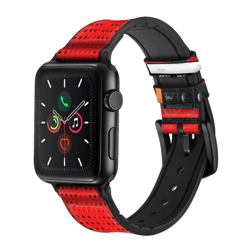 CA0611 Red Cassette Recorder Graphic Leather & Silicone Smart Watch Band Strap For Apple Watch iWatch