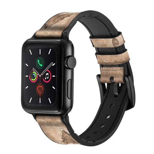 CA0618 Seahorse Skeleton Fossil Leather & Silicone Smart Watch Band Strap For Apple Watch iWatch