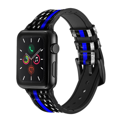 CA0632 Thin Blue Line USA Leather & Silicone Smart Watch Band Strap For Apple Watch iWatch