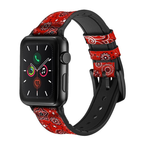 CA0668 Red Classic Bandana Leather & Silicone Smart Watch Band Strap For Apple Watch iWatch