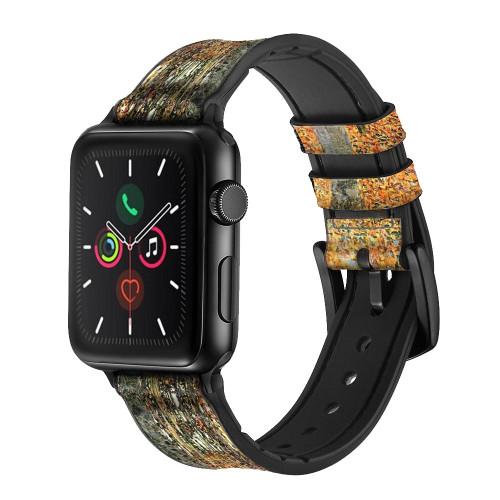 CA0686 Gustav Klimt Birch Forest Leather & Silicone Smart Watch Band Strap For Apple Watch iWatch