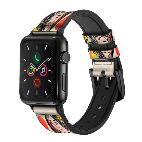 CA0729 Queen Hearts Card Leather & Silicone Smart Watch Band Strap For Apple Watch iWatch