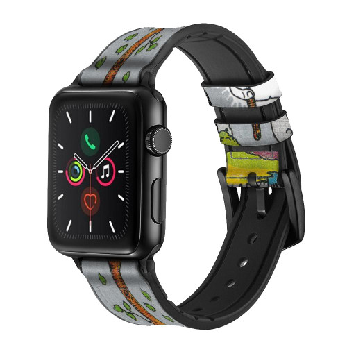 CA0843 Tarot Card Ace of Wands Leather & Silicone Smart Watch Band Strap For Apple Watch iWatch