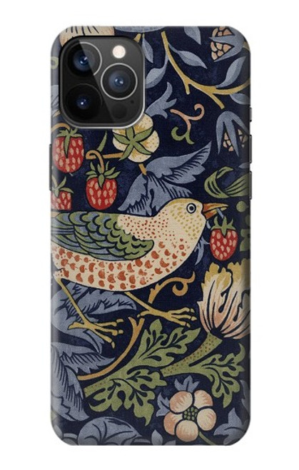 S3791 William Morris Strawberry Thief Fabric Case For iPhone 12, iPhone 12 Pro