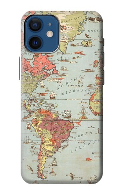 S3418 Vintage World Map Case For iPhone 12 mini