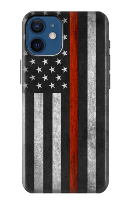 S3472 Firefighter Thin Red Line Flag Case For iPhone 12 mini