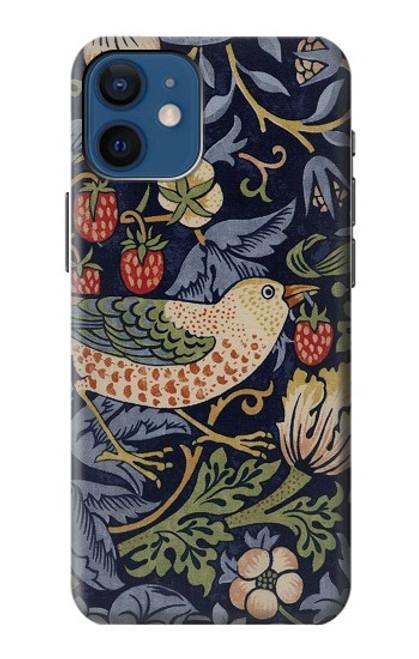 S3791 William Morris Strawberry Thief Fabric Case For iPhone 12 mini