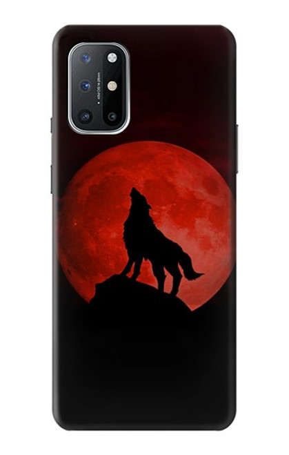 S2955 Wolf Howling Red Moon Case For OnePlus 8T