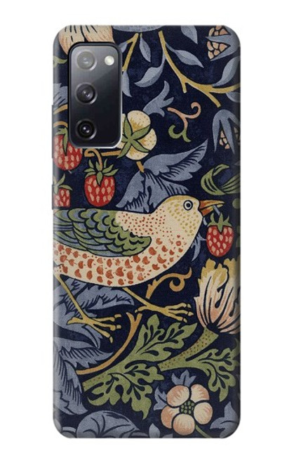 S3791 William Morris Strawberry Thief Fabric Case For Samsung Galaxy S20 FE