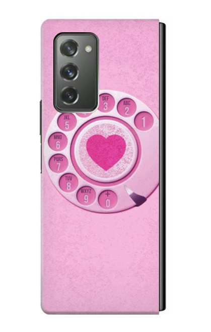 S2847 Pink Retro Rotary Phone Case For Samsung Galaxy Z Fold2 5G