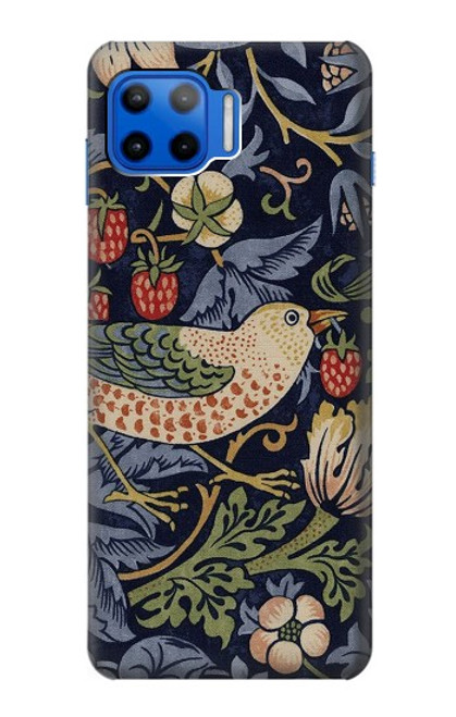S3791 William Morris Strawberry Thief Fabric Case For Motorola Moto G 5G Plus