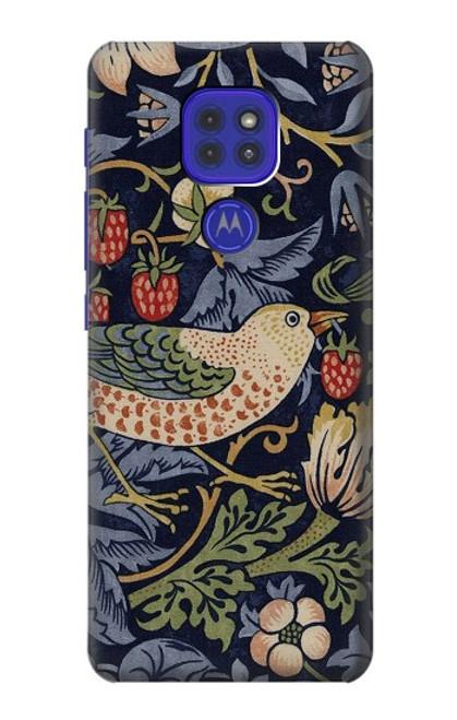 S3791 William Morris Strawberry Thief Fabric Case For Motorola Moto G9 Play