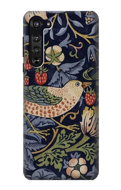 S3791 William Morris Strawberry Thief Fabric Case For Motorola Edge