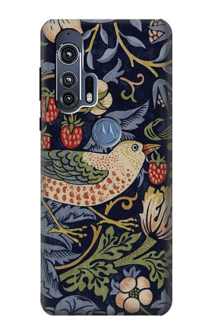 S3791 William Morris Strawberry Thief Fabric Case For Motorola Edge+