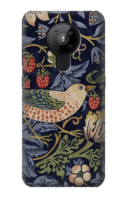 S3791 William Morris Strawberry Thief Fabric Case For Nokia 5.3