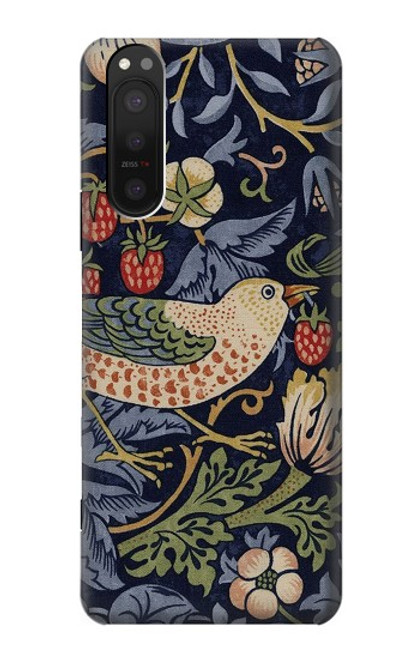 S3791 William Morris Strawberry Thief Fabric Case For Sony Xperia 5 II