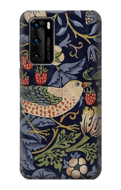 S3791 William Morris Strawberry Thief Fabric Case For Huawei P40