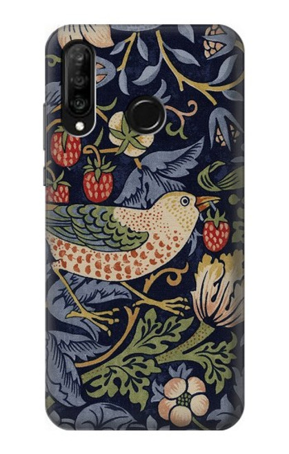 S3791 William Morris Strawberry Thief Fabric Case For Huawei P30 lite