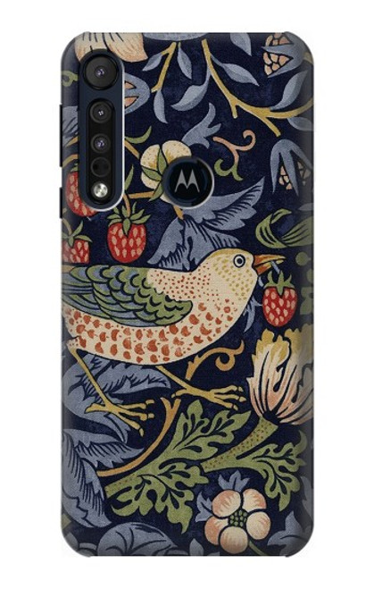 S3791 William Morris Strawberry Thief Fabric Case For Motorola One Macro, Moto G8 Play