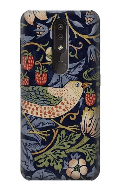 S3791 William Morris Strawberry Thief Fabric Case For Nokia 4.2
