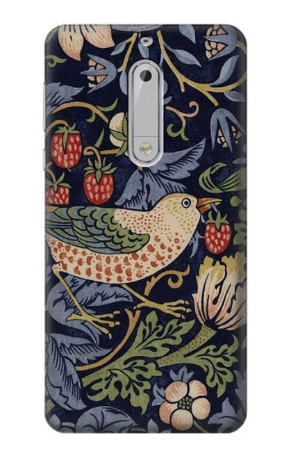 S3791 William Morris Strawberry Thief Fabric Case For Nokia 5