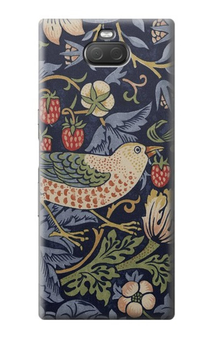 S3791 William Morris Strawberry Thief Fabric Case For Sony Xperia 10 Plus