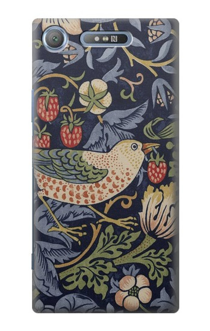 S3791 William Morris Strawberry Thief Fabric Case For Sony Xperia XZ1