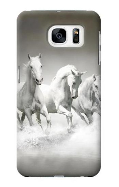 S0933 White Horses Case Cover For Samsung Galaxy S7