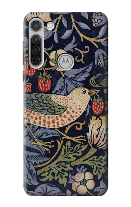 S3791 William Morris Strawberry Thief Fabric Case For Motorola Moto G8