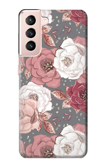 S3716 Rose Floral Pattern Case For Samsung Galaxy S21 5G